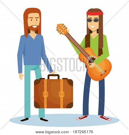 Hippie men with guitar and suitcase over white background. Vector illustration.