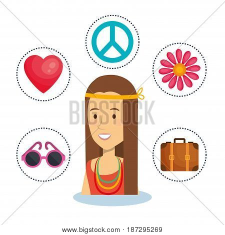 Hippie woman with related object stickers over white background. Vector illustration.
