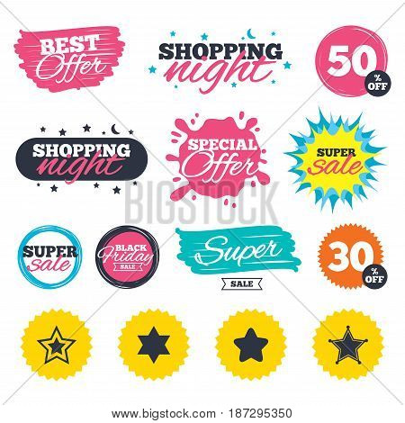 Sale shopping banners. Special offer splash. Star of David icons. Sheriff police sign. Symbol of Israel. Web badges and stickers. Best offer. Vector