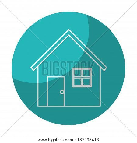sticker nice house with door, window and roof, vector illustration