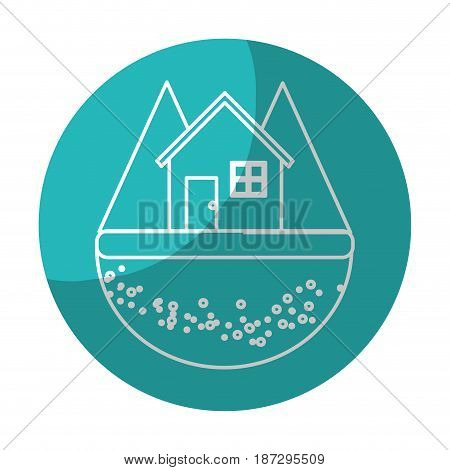 sticker nice house in the forest witn mountains, vector illustration design