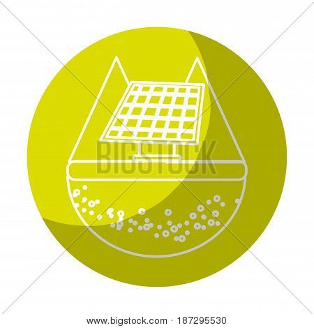 sticker solar energy to care ecology and planet, vector illustration
