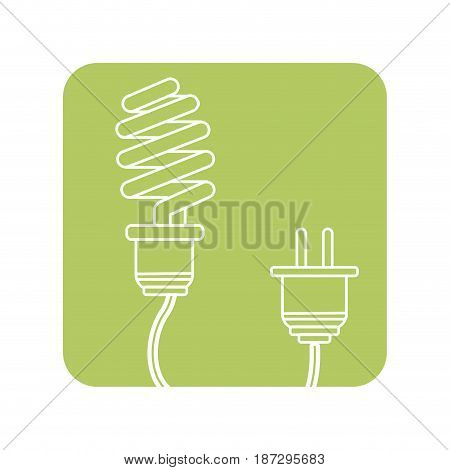 label save bulb with power cable, vector illustration design