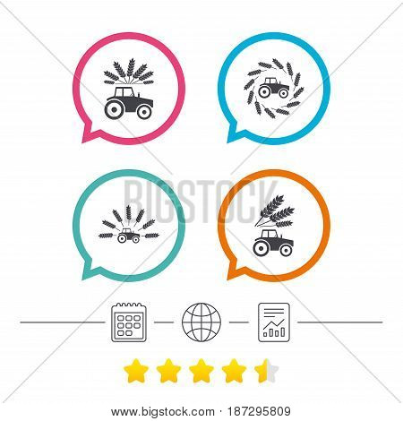 Tractor icons. Wreath of Wheat corn signs. Agricultural industry transport symbols. Calendar, internet globe and report linear icons. Star vote ranking. Vector