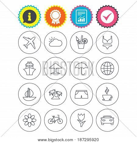 Report, information and award signs. Travel icons. Ship, plane and car transport. Beach umbrella, palms and cocktail. Swimming trunks. Rose or tulip flower. Check tick symbol. Flat buttons. Vector