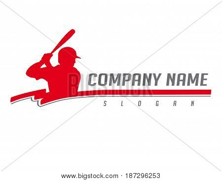 baseball red palyer logo on a white background