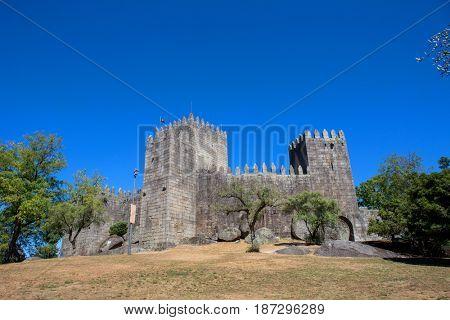 Castle of Guimaraes. The principal medieval castle in Portugal. Guimaraes, Portugal