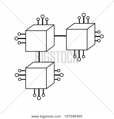 line squares digital connections with circuits electronic and magnifying glass, vector illustration