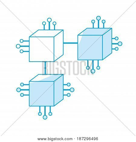 silhouette squares digital connections with circuits electronic and magnifying glass, vector illustration