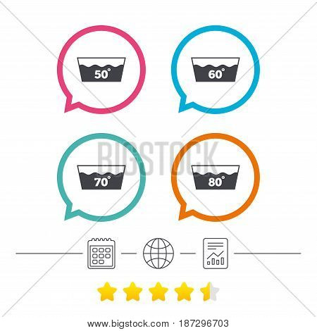 Wash icons. Machine washable at 50, 60, 70 and 80 degrees symbols. Laundry washhouse signs. Calendar, internet globe and report linear icons. Star vote ranking. Vector