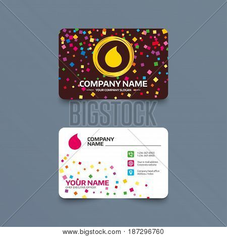 Business card template with confetti pieces. Water drop sign icon. Tear symbol. Phone, web and location icons. Visiting card  Vector
