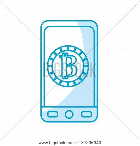 silhouette smartphone with bitcoin currency symbol inside, vector illustration