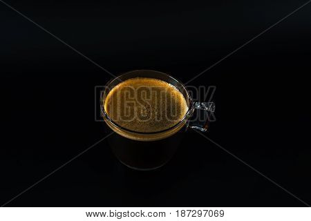 Aromatic Black Coffee In A Glass Cup,black Background, Drink Set