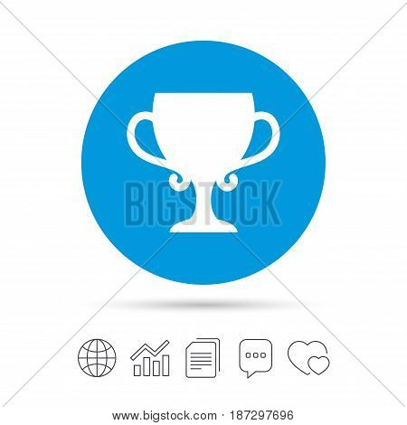 Winner cup sign icon. Awarding of winners symbol. Trophy. Copy files, chat speech bubble and chart web icons. Vector