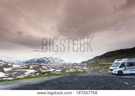 Camper Car In Norwegian Mountains