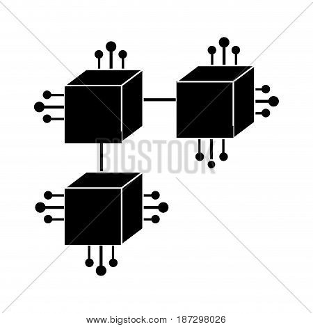 contour squares digital connections with circuits electronic and magnifying glass, vector illustration