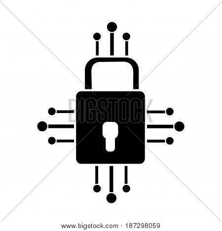 contour padlock with circuits to security dgital connection, vector illustration