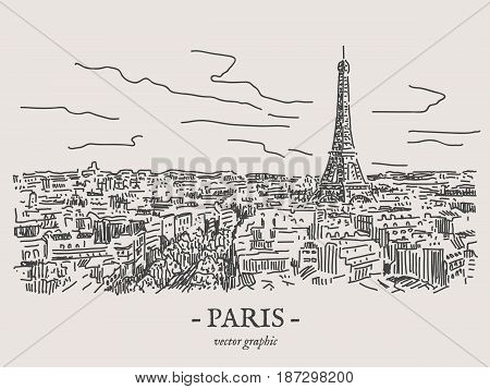 Paris city retro vintage vector drawing on gray backgtound