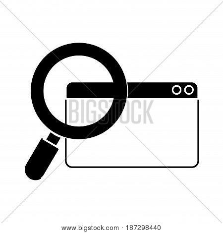 contour digital magnifying glass search in the website , vector illustration