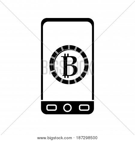 contour smartphone with bitcoin currency symbol inside, vector illustration