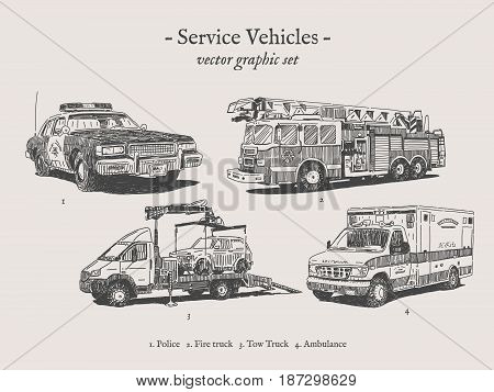 Fire truck, police car, ambulance and tow truck vector drawings set