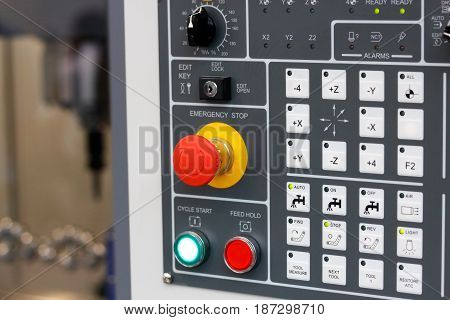 Control panel of cnc milling center. Selective focus.