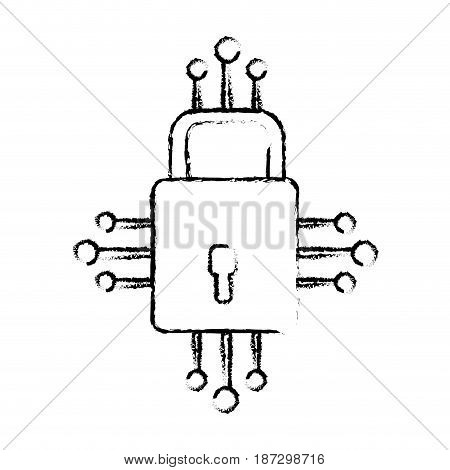 figure padlock with circuits to security dgital connection, vector illustration