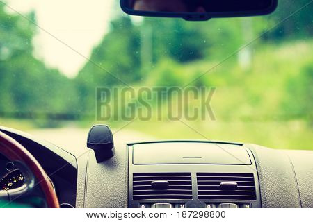 Car Driving, View From Inside On Dashboard