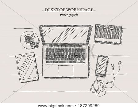 Workplace with laptop, notebook, smartphone, tablet and cup of coffee vector drawn illustration on grey background