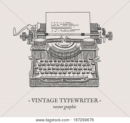 Retro typewriter vector drawing on grey background