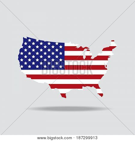 vector American country landmark illustration icon National flag