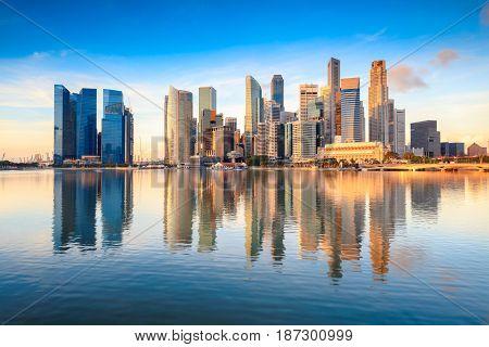 Singapore city skyline at the Marina bay during sunrise