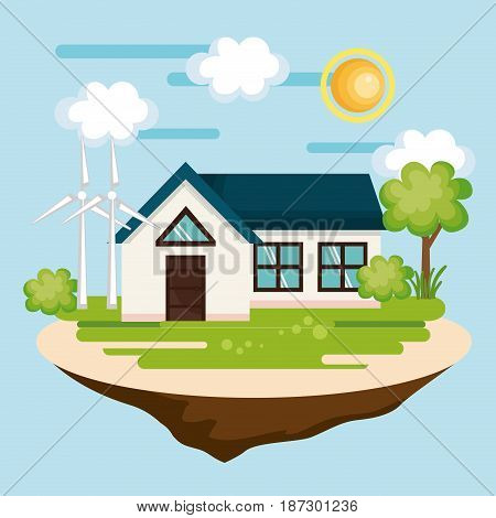 Eco friendly countryside house with wind turbines over blue background. Vector illustration.