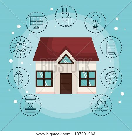 House surrounded by hand drawn eco friendly object stickers over blue background. Vector illustration.