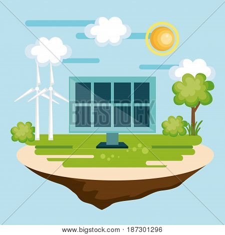 Solar panel and wind turbines in countryside over blue background. Vector illustration.