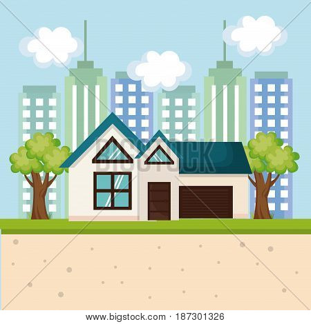 House with trees and city skyline. Vector illustration.
