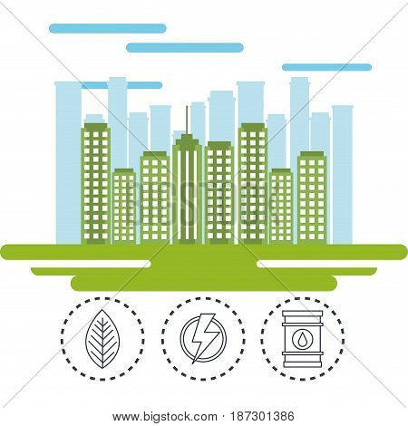 Green city with hand drawn eco friendly stickers over white background. Vector illustration.