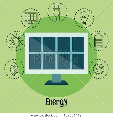 Solar panel  and hand drawn eco friendly object stickers over green background. Vector illustration.