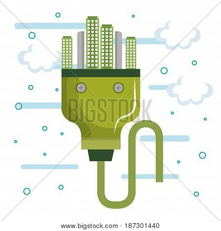 Green power plug with city over white background. Vector illustration.