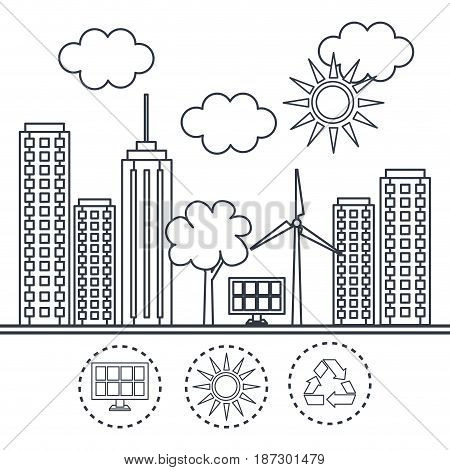 Hand drawn eco friendly city with solar panel and wind turbine over white background. Vector illustration.