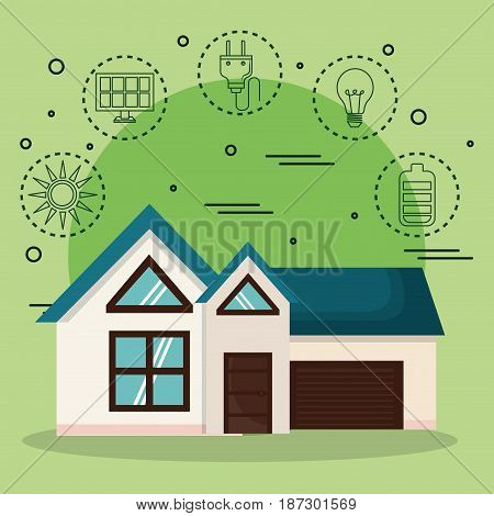 House and hand drawn eco friendly object stickers over green background. Vector illustration.