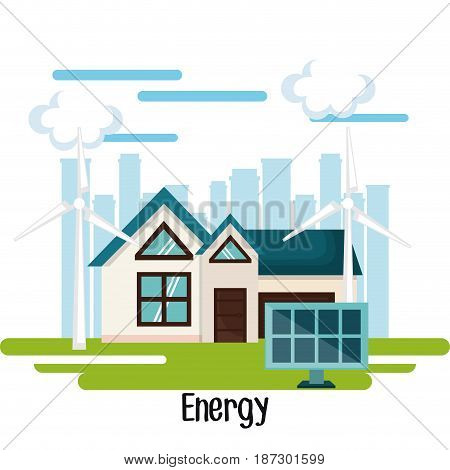 Eco friendly house with  wind turbines and solar panel over white background with city skyline. Vector illustration.