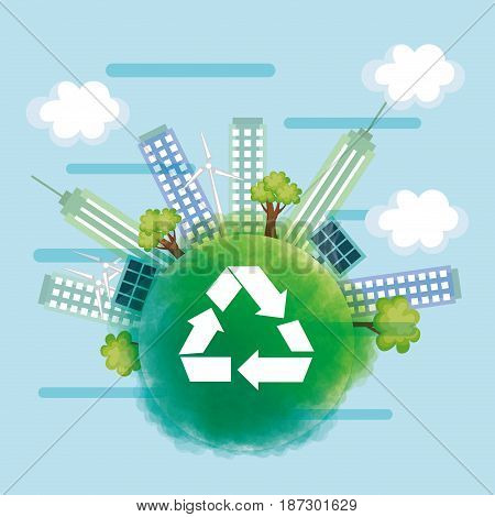 Green globe with arrow recycling symbol and city skyline over blue background. Vector illustration.