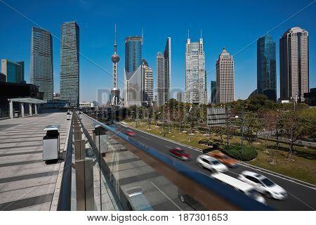 Empty Road Marble Floor With City Landmark Buildings