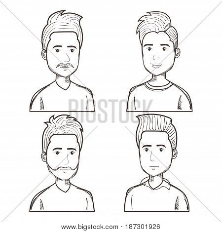 Hand drawn uncolored men with different hairstyles set over white background. Vector illustration.