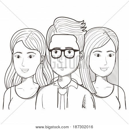 Hand drawn uncolored man with glasses and women over white background. Vector illustration.