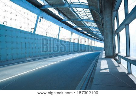 Tunnel Inside Of Empty Road Surface Floor