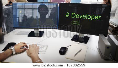 Computer Screen Show about Hashtag Developer Word