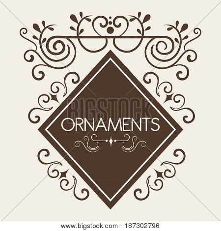 Ornamental diamond shaped frame and ornaments sign over white background. Vector illustration.