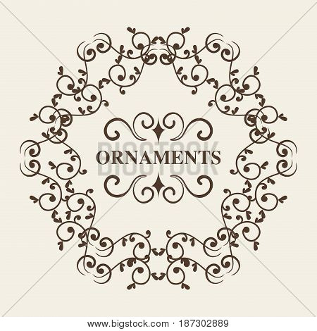 Round ornamental frame and ornaments sign over white background. Vector illustration.